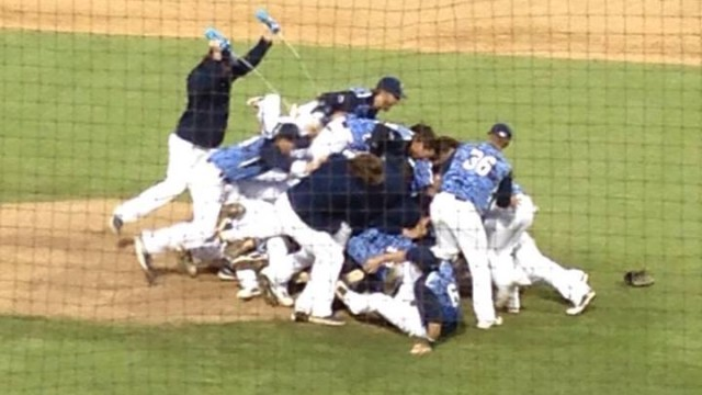 The USD baseball team celebrates after winning the West Coast Conference regular-season championship on Sunday. Courtesy of USD Athletics Facebook.