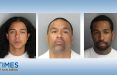 Angelo Doeing (l), William Epenesa (c), and Raider Seau (r) are at large, suspected of beating Mustafa Gordon to death. Photos courtesy of the Oceanside Police Department
