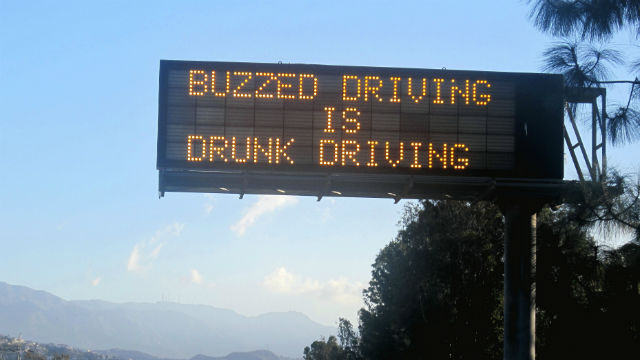 A buzzed driving warning on an Interstate highway. Courtesy Caltrans