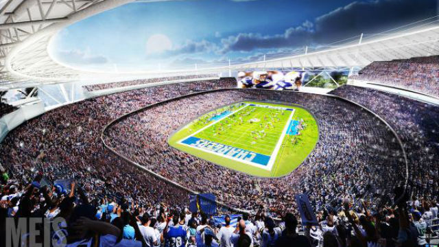 Artist's conception of proposed Chargers stadium in Mission Valley.