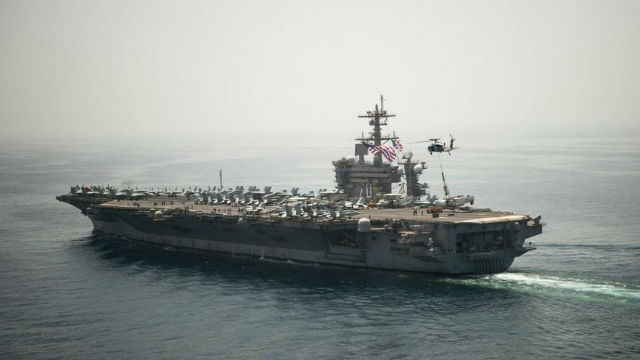 The USS Carl Vinson in the Gulf of Oman in April. Navy photo