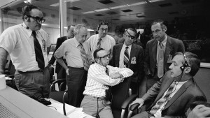 Myers (with patch at center right) met with a NASA team to decide on landing for Apollo 16 in April 1972. NASA photo