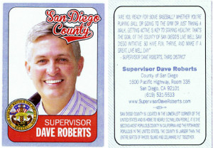 Dave Roberts baseball card shared by Gary Gartner.