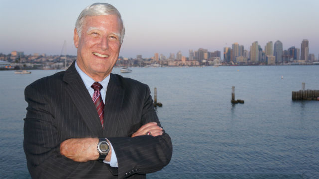 Greg Cox with the San Diego skyline. Campaign photo