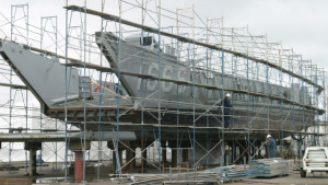 A Navy landing craft under construction at Marine Group Boat Works. Courtesy of the company