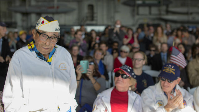 Ray Chavez is honored aboard the USS Midway in 2014. Navy photo