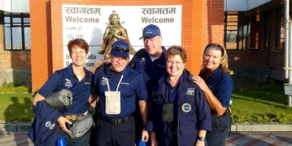 The Scripps Health Team after landing Nepal. Photo courtesy of Scripps Health