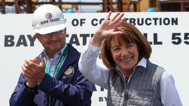 Rep. Susan Davis (left) and NASSCO General Manager at the ceremony in the shipyard. Courtesy NASSCO