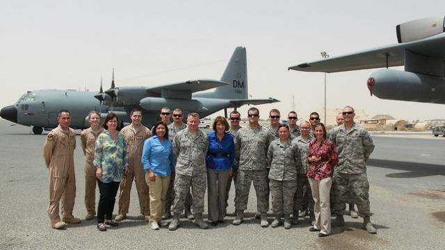 Rep. Susan Davis with troops in Kabul, Afghanistan.