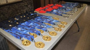 Gold, silver and bronze medals were readied for awards at the biathlon at the U.S. Police and Fire Championships.