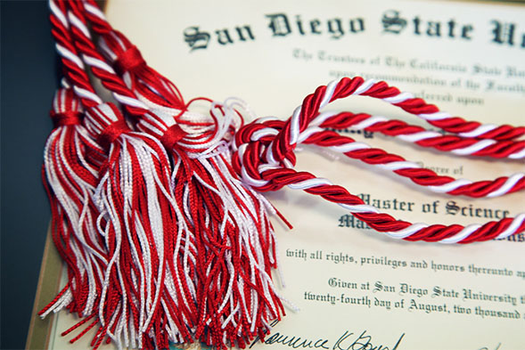 San Diego State diploma and cords. Photo courtesy of SDSU