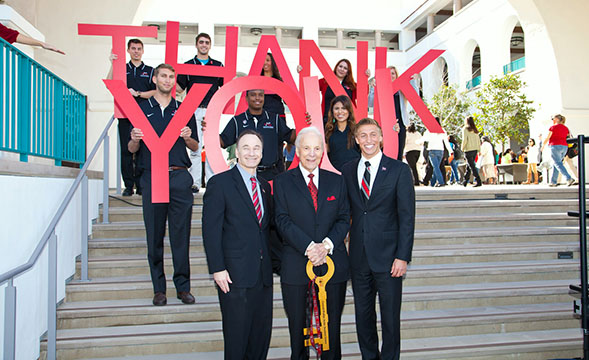 San Diego philanthropist Conrad Prebys (center) will be the 41st honorary degree recipient in San Diego State's history. Photo courtesy of SDSU