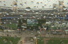 A view of a soggy Petco Park during a rain delay. Courtesy of Padres.com