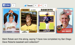 Baseball card allegedly produced by Supervisor Dave Roberts is shown alongside other ballplayer Roberts cards. Image from sdrostra.com