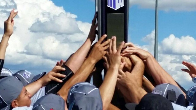 The SDSU baseball team celebrates its third straight Mountain West tournament. Courtesy of Go Aztecs Facebook.