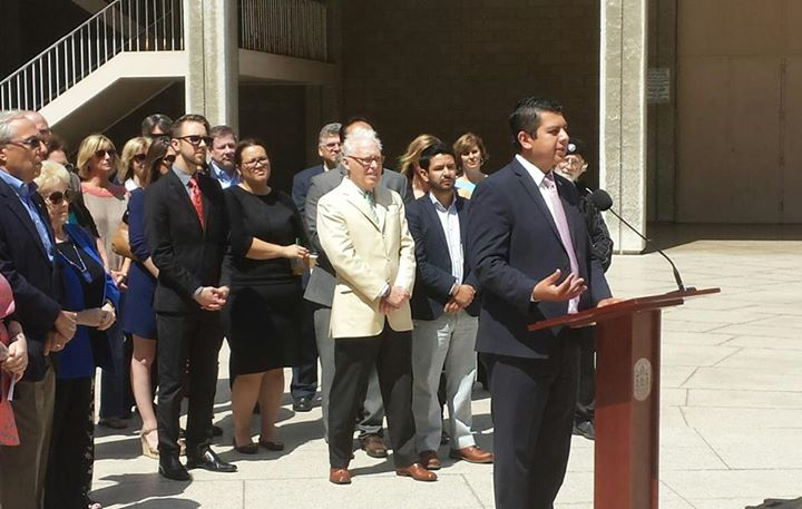 David Alvarez at during a press conference calling for more arts funding at the Civic Center Plaza downtown. Photo courtesy of the La Jolla Playhouse