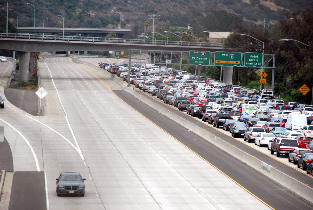 Northbound 163 was closed at I-8 because of a possible terrorism threat. Photo credit: Alexander Nguyen