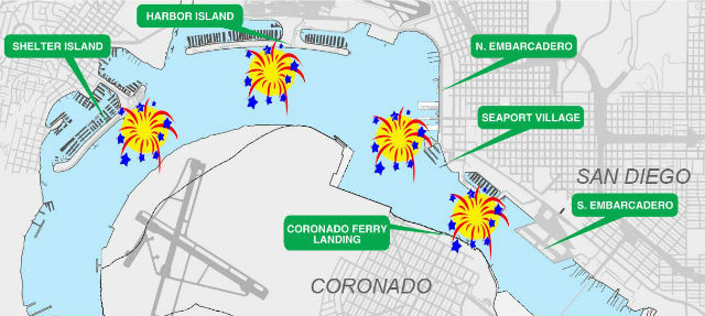 Map shows location of fireworks barges and best viewing areas. Courtesy Port of San Diego