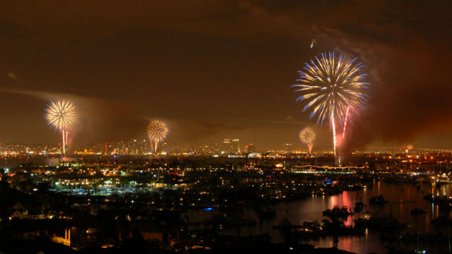 An Big Bay Boom lights up the night sky over San Diego Bay. Courtesy of the Port of San Diego