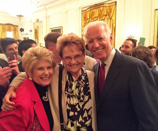 San Diego District Attorney Bonnie Dumanis with partner, Denise, and Vice President Joe Biden at the White House's Pride Month reception. Courtesy photo