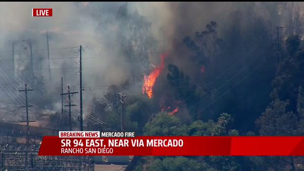 The Mercado fire is 85 percent contained as of 6 p.m. Friday. Photo courtesy of Fox 5 San Diego
