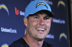 Chargers Quarterback Philip Rivers speaks about Charger progress. Photo by Chris Stone.