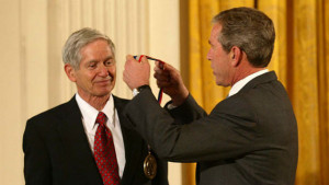 Charles Keeling receives the National Science Medal from President Bush in 2001. National Science Foundation photo