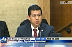 Councilman David Alvarez  if the new restrictions won't reduce the city's water consumption, drastic measures may have to be implemented. Photo courtesy of CityTV