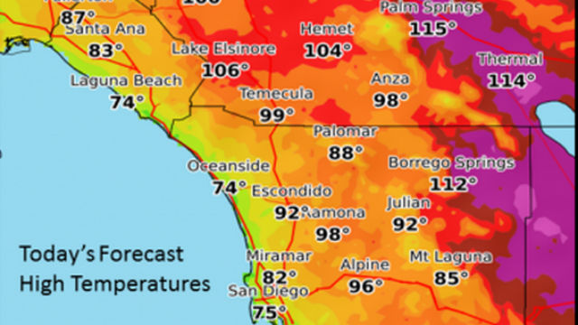 San Diego Weather Map 110 Degree Plus Highs Forecast for San Diego Deserts   Times of