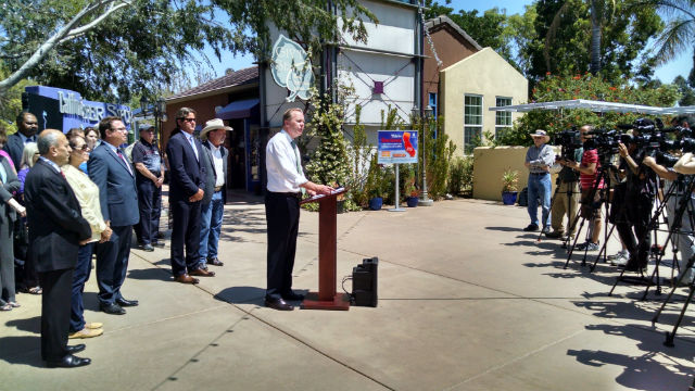 Mayor Kevin Faulconer at the Water Conservation Garden in El Cajon.