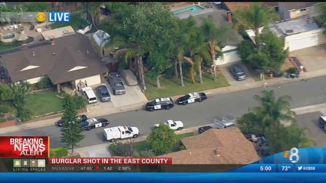 A person, possibly a burglar, was wounded in a shooting in El Cajon. Photo courtesy of News 8