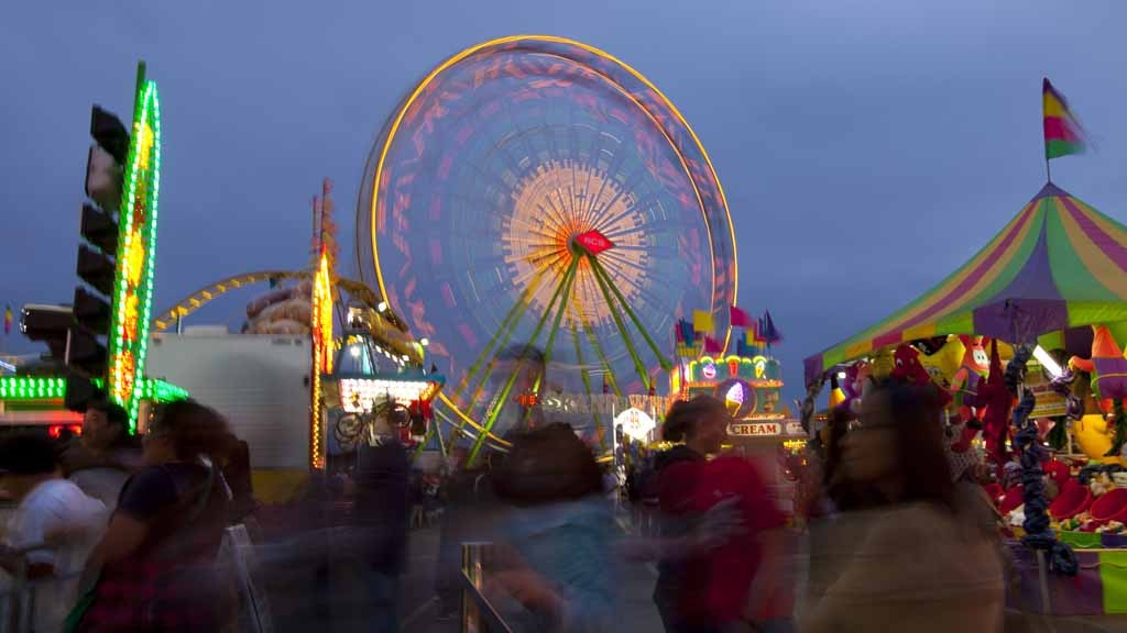 Nighttime in the Fun Zone. Photo by Fred Greaves, courtesy of the fair.