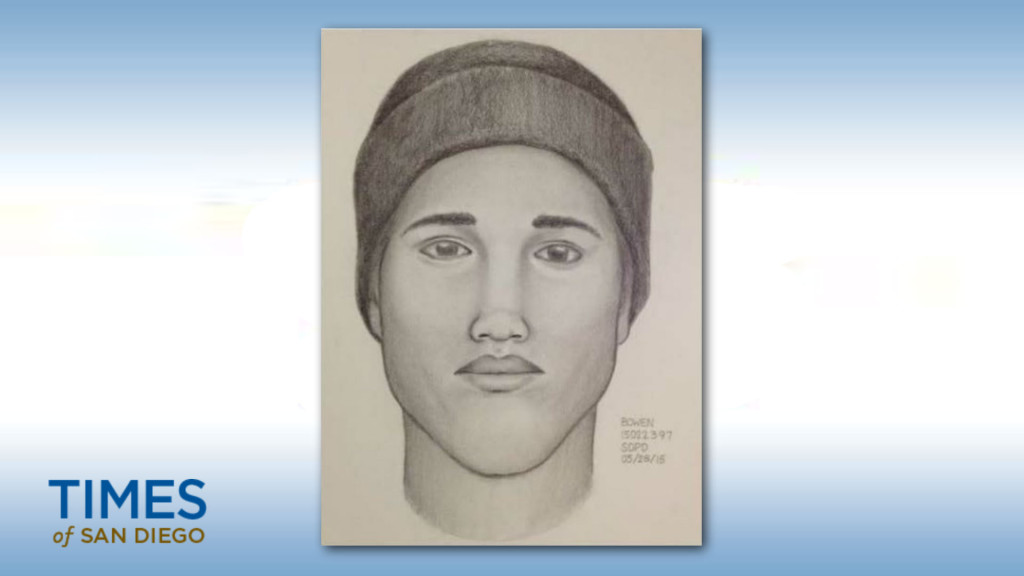 A sketch of one of the suspects in a armed home-invasion robbery in Point Loma. Photo courtesy of Crime Stoppers