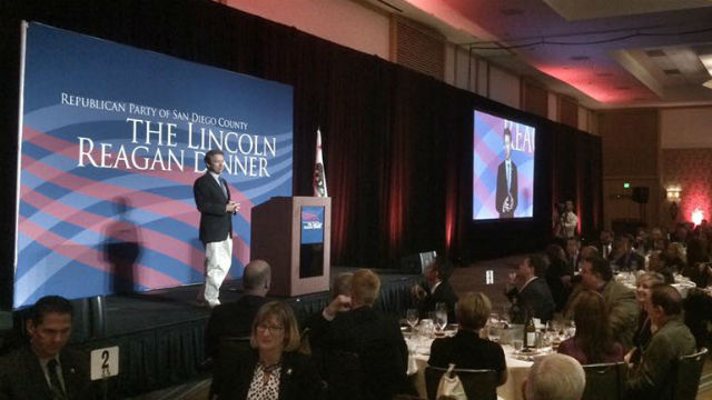 Sen. Rand Paul speaks at the Republican Party of San Diego's annual Lincoln Reagan Dinner at the Hilton San Diego Bayfront. Courtesy of the campaign