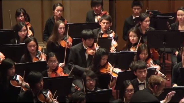 The San Diego Youth Symphony performing at Copley Symphony Hall. Image from symphony video