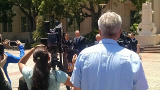 Mayor Kevin Faulconer addressed the media at a news conference after a meeting with San Diego city and county officials and NFL executives. Photo by Jacob Gardenswartz