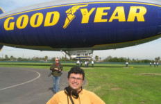 Journalist Adolfo Guzman-Lopez covering a story about the Goodyear blimp.
