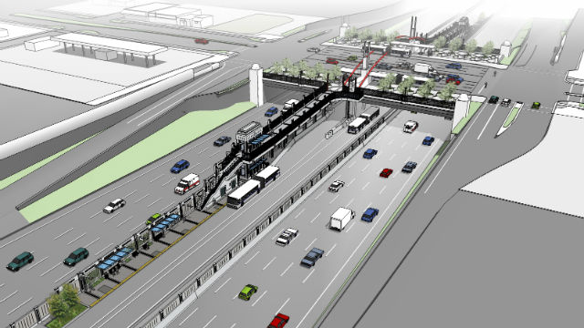 A rendering of one of the bus rapid transit stations in the Centerline project. Courtesy SANDAG