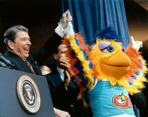 Ted Giannoulas has appeared with several presidents, including Ronald Reagan, and many celebrities over the years. Image via famouschicken.com