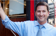 Chris Ward with a San Diego trolley. Campaign photo