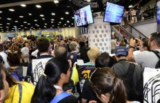 Fans cram into autograph signing area in the Exhibition Hall at Comic-Con. Chris Stone photo