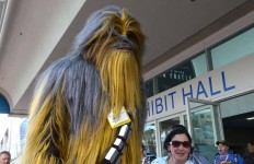 Chewbacca makes an appearance outside Comic-Con on Thursday.  Chris Stone photo