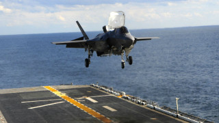 An F-35B takes off vertically from the USS Wasp. Navy photo