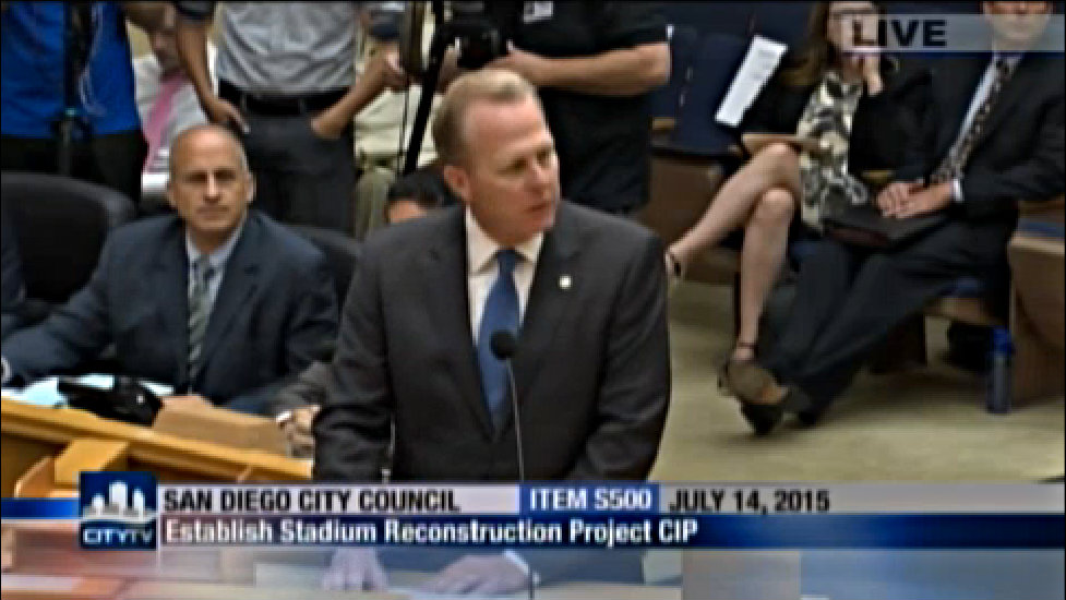 Mayor Kevin Faulconer at the City Council advocating for an expedited EIR. Photo courtesy of CityTV