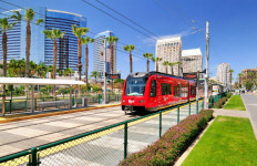A trolley on the Green Line opposite the San Diego Convention Center. Courtesy MTS