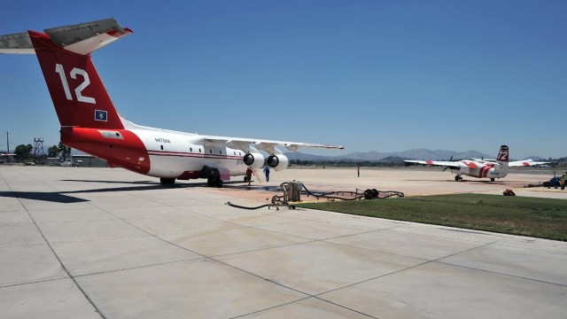 A nest generation BAe-146 tanker taxis in Ramona recently. Courtesy San Diego County Board of Supervisors