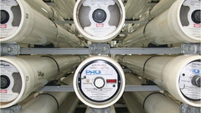 Reverse osmosis units at the Richard A. Reynolds Desalination Facility. Courtesy Sweetwater Authority