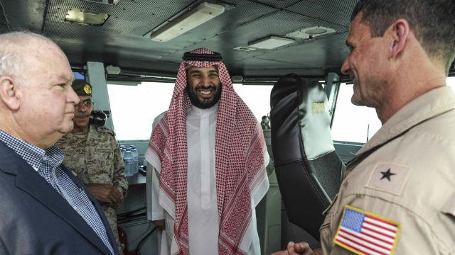 Prince Mohammed bin Salman bin Abdulaziz Al Saud on the bridge of the USS Theodore Roosevelt. Navy photo