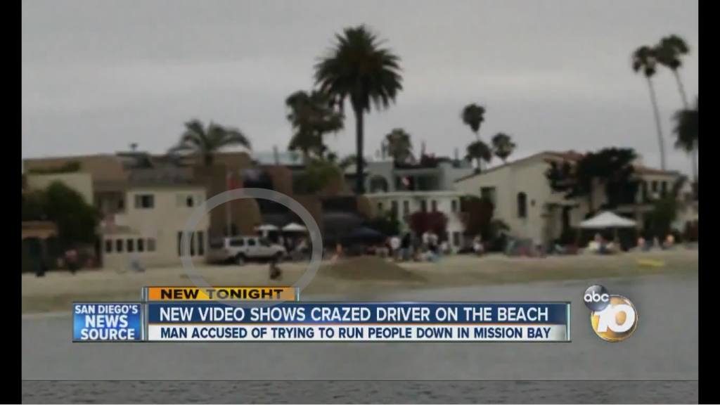 Screen shot of a driver driving on the boardwalk in Mission Beach. Courtesy of 10News