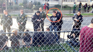 PETA says this photo of 2014 Rose Parade arrest shows Paul McComb of SeaWorld, who went by Thomas Jones.